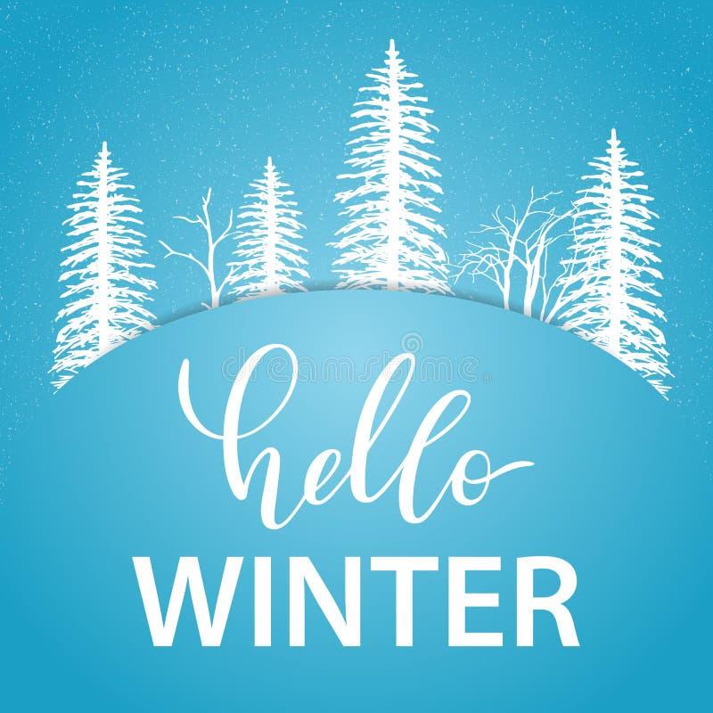 Olá! cartão do inverno com as silhuetas brancas das árvores e da neve ilustração do vetor