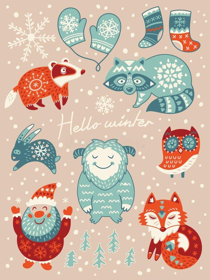 Olá! cartão do inverno Natal ajustado com personagens de banda desenhada Ilustração do vetor ilustração royalty free