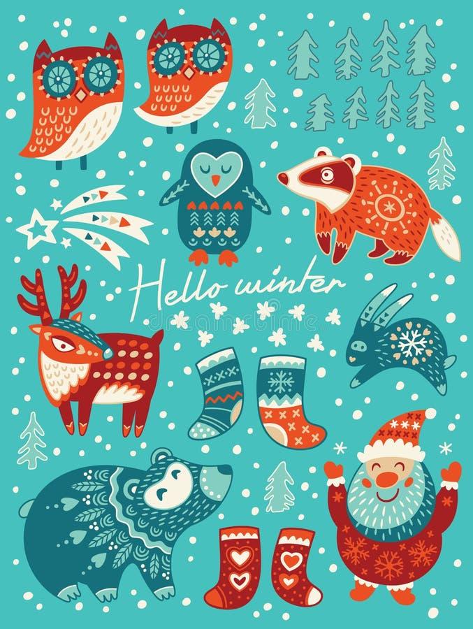 Olá! cartão do inverno Natal ajustado com personagens de banda desenhada Ilustração do vetor ilustração do vetor