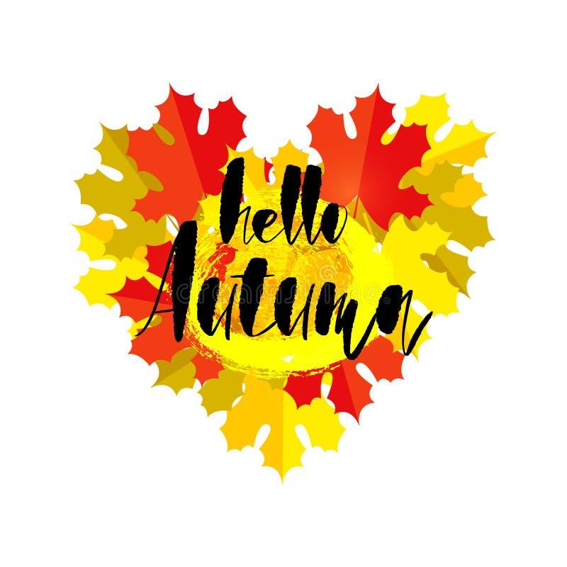 Olá! cartão do outono com um coração das folhas de outono isoladas no branco Molde do projeto da queda, cópia para o t-shirt ilustração stock