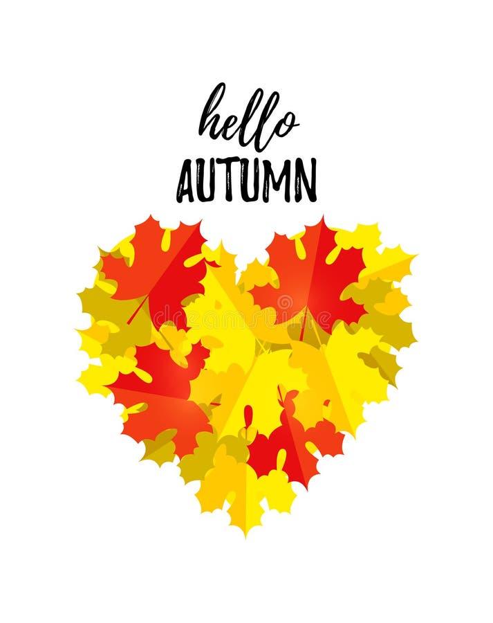 Olá! cartão do outono com um coração das folhas de outono isoladas no branco Molde do projeto da queda, cópia para o t-shirt ilustração royalty free
