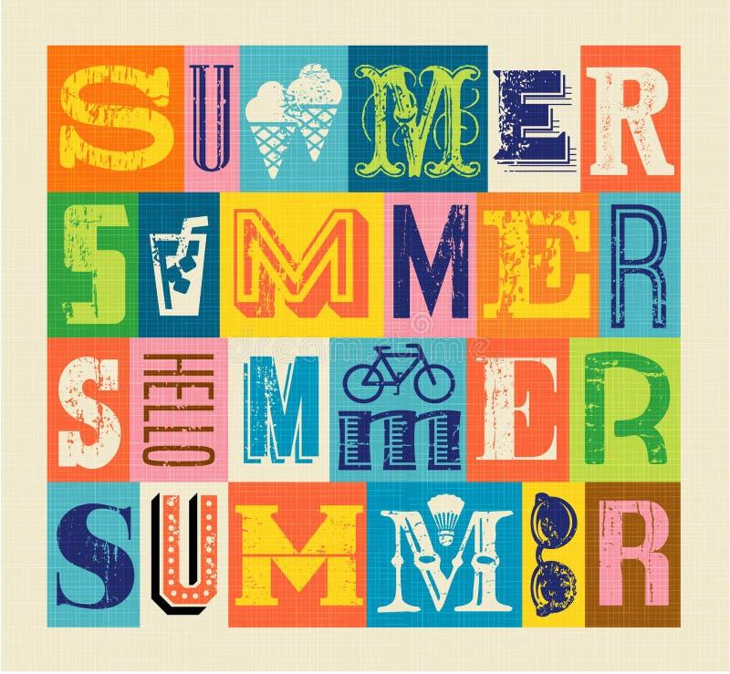 Olá! cartaz colorido da tipografia do verão ilustração stock