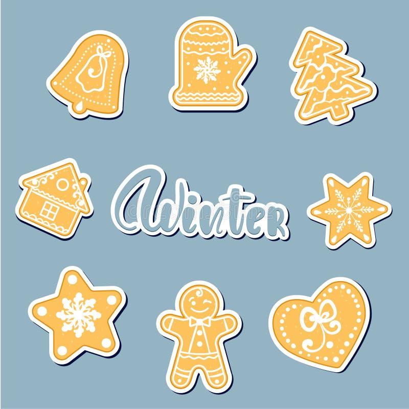 Olá! cartaz de dezembro, cartão Vector a ilustração tirada mão com as cookies do texto e do pão-de-espécie ilustração royalty free