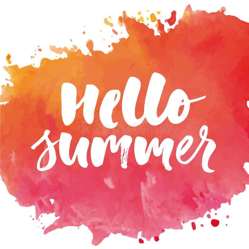 Olá! cartaz do feriado das vendas do ouro da frase da caligrafia da rotulação do texto do verão ilustração stock
