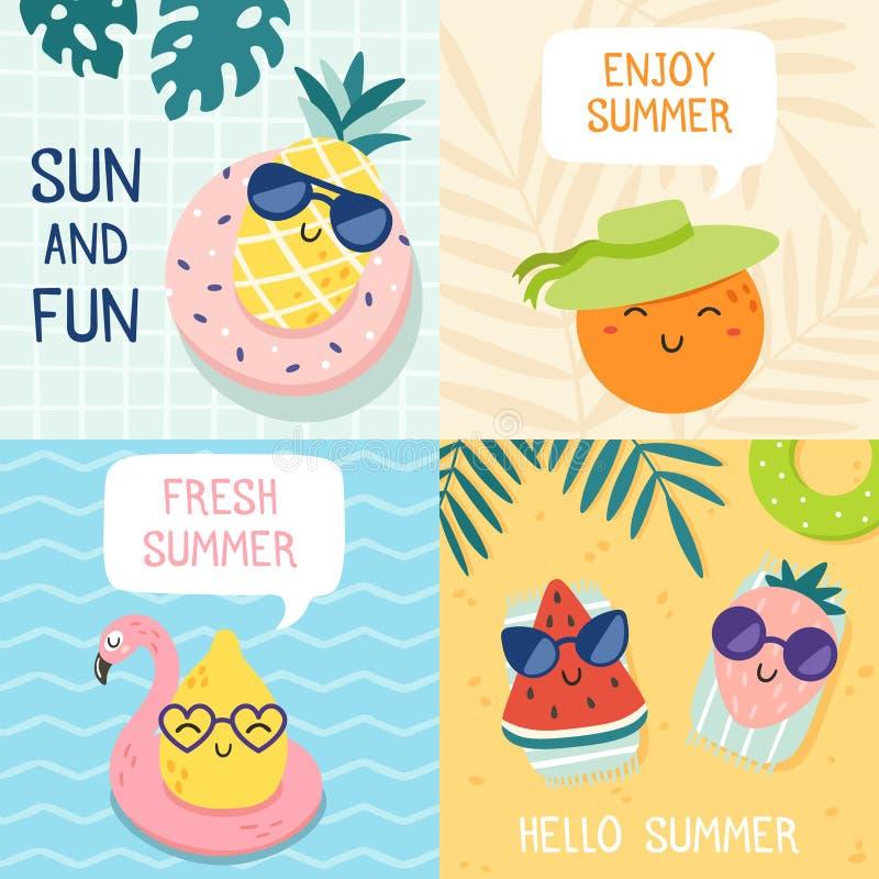 Olá! cartaz do verão Frutos engraçados, abacaxi nos óculos de sol e grupo da ilustração do vetor da bandeira do partido da praia  ilustração royalty free