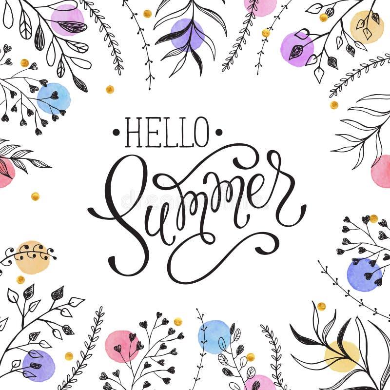 Olá! cerd do cumprimento do verão ilustração royalty free