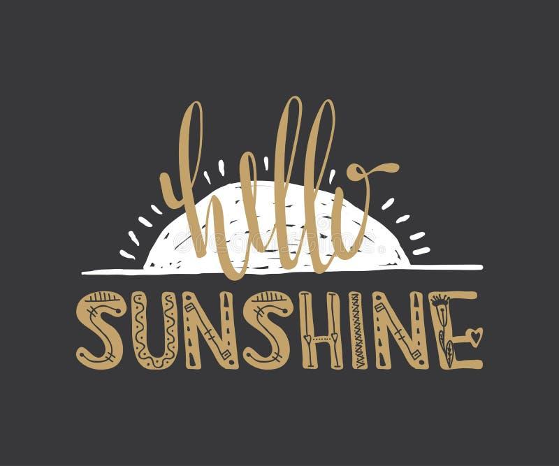 Olá! citações da luz do sol ilustração do vetor