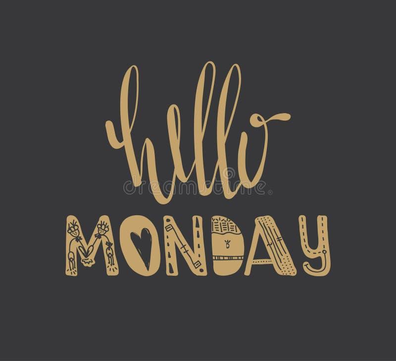 Olá! citações de segunda-feira ilustração stock