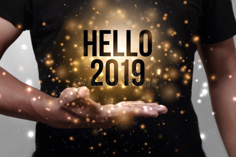 Olá! 2019 com mão imagens de stock royalty free