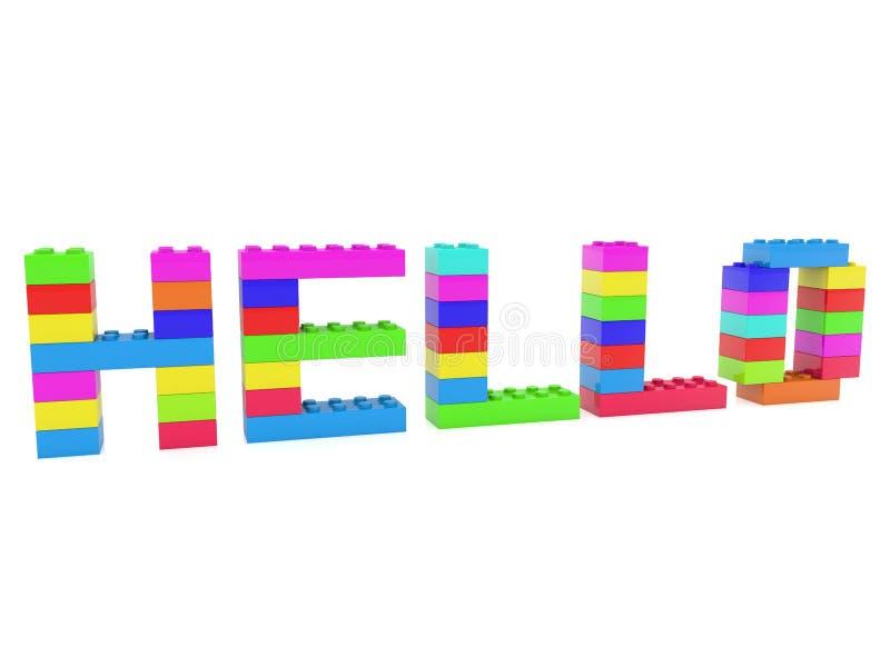 Olá! conceito construído dos tijolos do brinquedo ilustração 3D ilustração royalty free