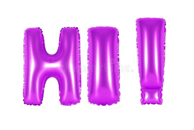 Olá!, cumprimentando, cor roxa imagem de stock royalty free