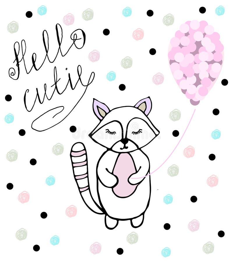 Olá! cutie Guaxinim do bebê com balão cor-de-rosa ilustração royalty free