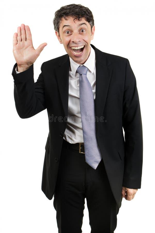 Olá! de ondulação do homem de negócios sutil fotos de stock royalty free