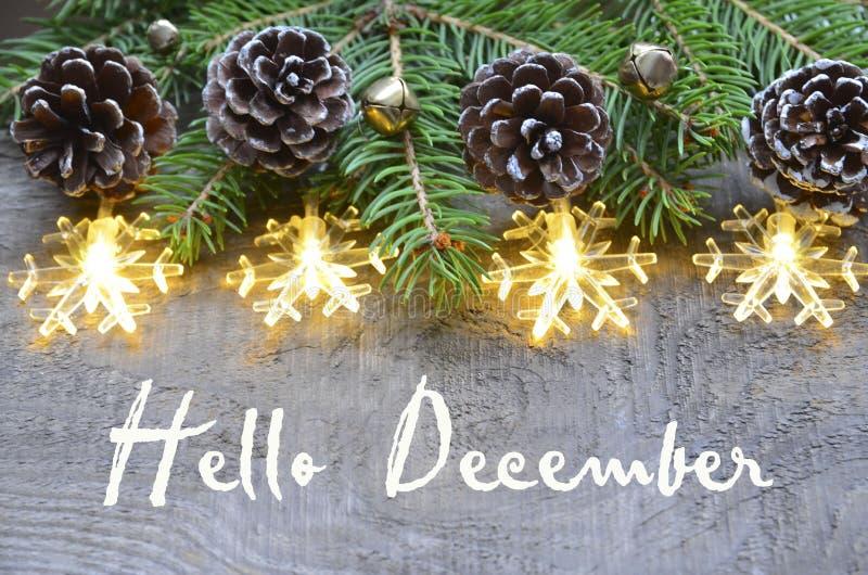 Olá! dezembro Decoração do Natal com árvore de abeto, cones do pinho e luzes da festão no fundo de madeira velho fotografia de stock royalty free