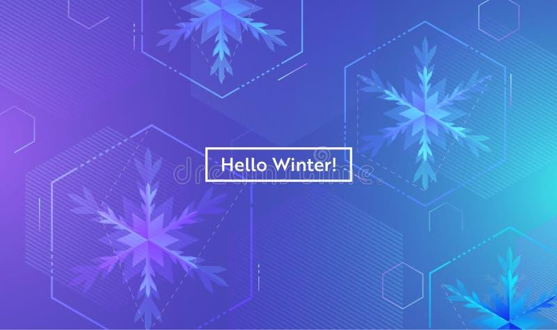 Olá! disposição do inverno com os flocos de neve para a Web, página de aterrissagem, bandeira, cartaz, molde do Web site Fundo do ilustração stock