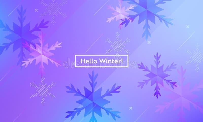 Olá! disposição do inverno com os flocos de neve para a Web, página de aterrissagem, bandeira, cartaz, molde do Web site Fundo do ilustração royalty free