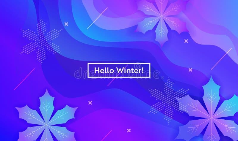 Olá! disposição do inverno com os flocos de neve para a Web, página de aterrissagem, bandeira, cartaz, molde do Web site Fundo do ilustração do vetor