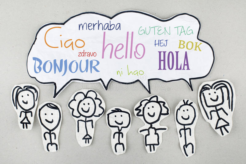 Olá! em línguas estrangeiras globais internacionais diferentes Bonjour Ciao Hola ilustração stock