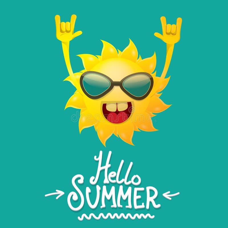 Olá! etiqueta funky do vetor do rolo da rocha n do verão isolada em azuis celestes fundo do partido do verão com projeto de carát ilustração do vetor