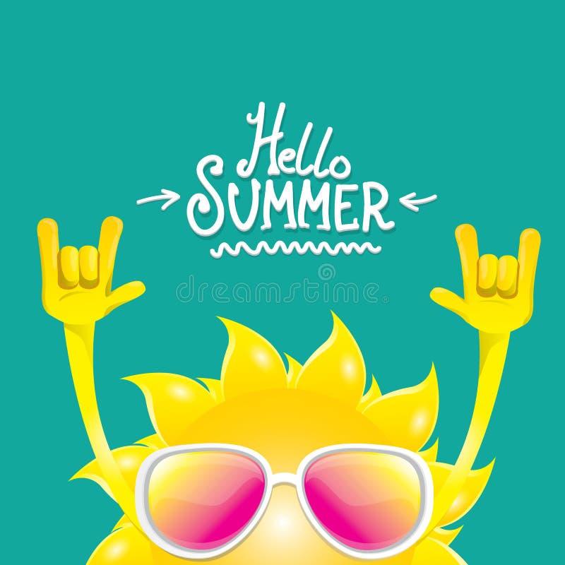 Olá! etiqueta funky do vetor do rolo da rocha n do verão isolada em azuis celestes fundo do partido do verão com projeto de carát ilustração stock