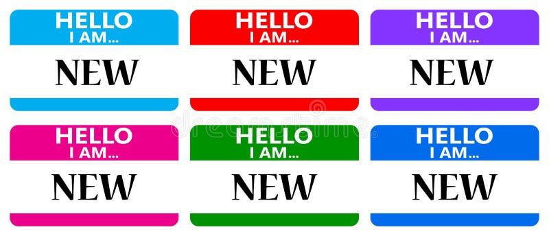 Olá! eu sou etiquetas novas do nome ilustração do vetor
