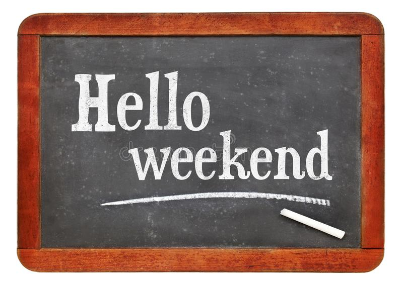 Olá! fim de semana no quadro-negro foto de stock royalty free