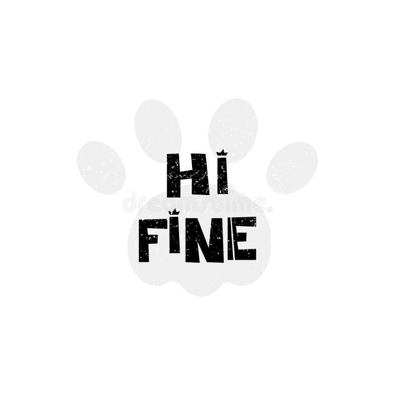 Olá! fino hello Entregue o cartaz tirado da tipografia do estilo com citações inspiradas Cartão, arte da cópia ou decoração home ilustração do vetor