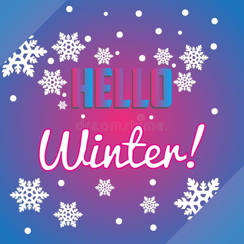 Olá! flocos de neve do inverno e inseto ou banne da composição da rotulação foto de stock royalty free