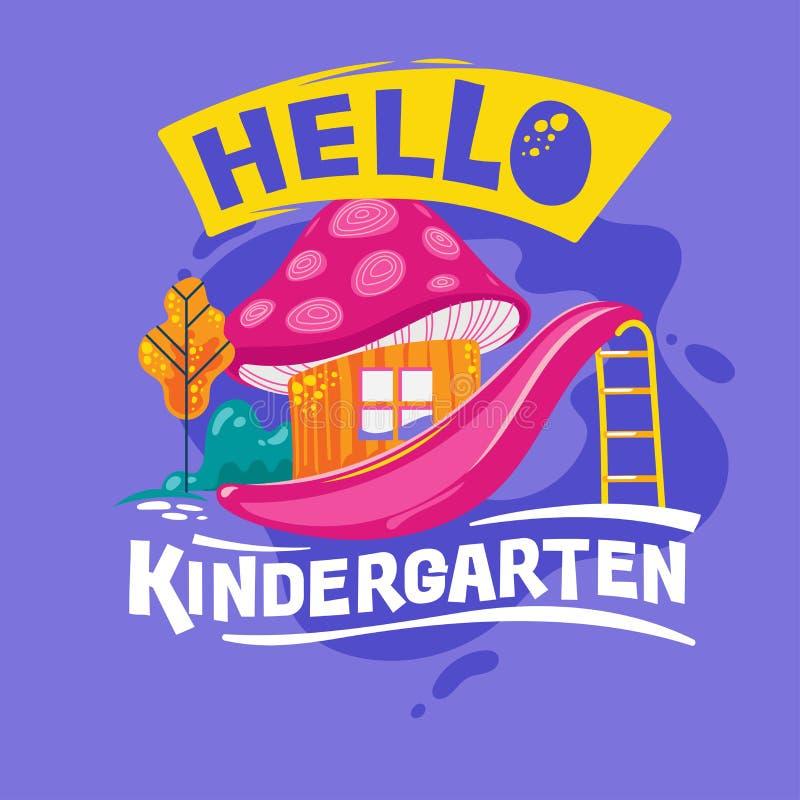 Olá, Frase do jardim de infância com ilustração colorida Voltar à cotação da escola ilustração royalty free