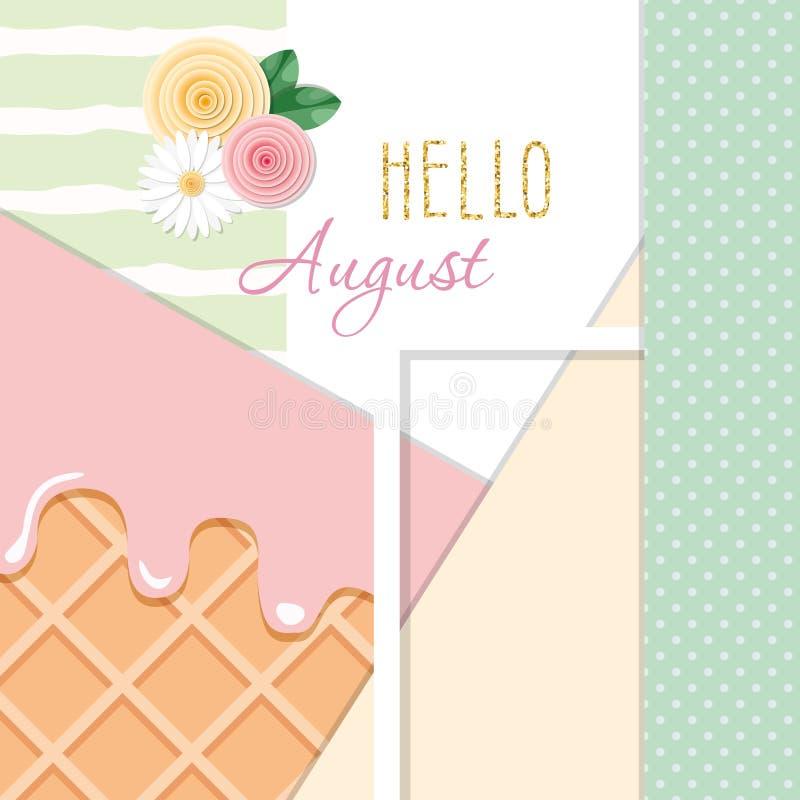 Olá! fundo abstrato august com texturas diferentes e elementos decorativos florais ilustração stock
