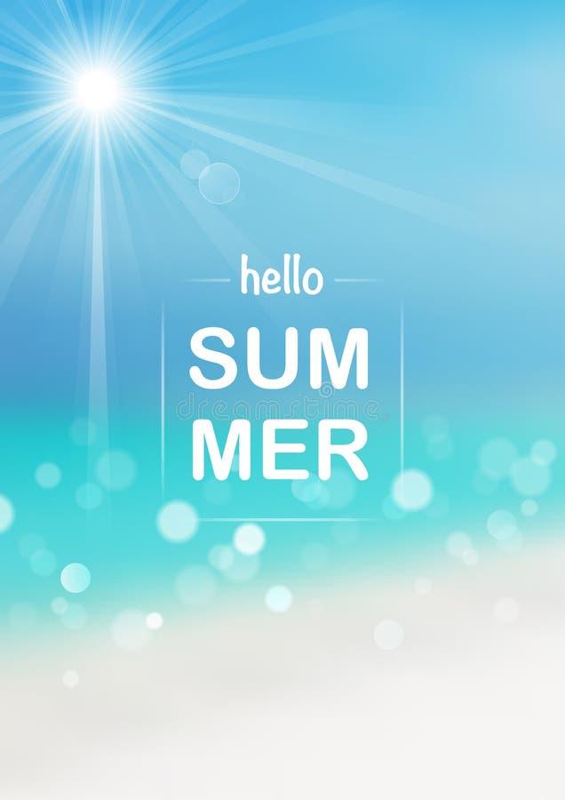 Olá! fundo borrado do verão com efeito de Bokeh ilustração stock
