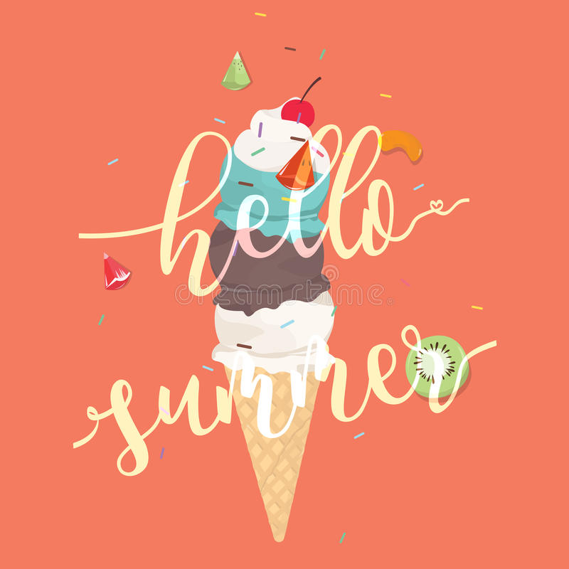 Olá! fundo colorido do cone de gelado do verão ilustração stock