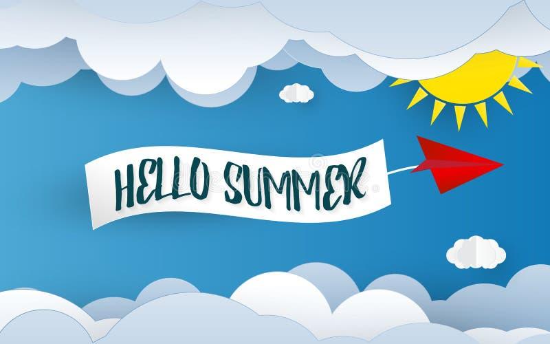 Olá! fundo da arte do papel do verão Elemento do céu azul e da nuvem Conceito do feriado e das f?rias Corte e tema de papel do pa ilustração stock