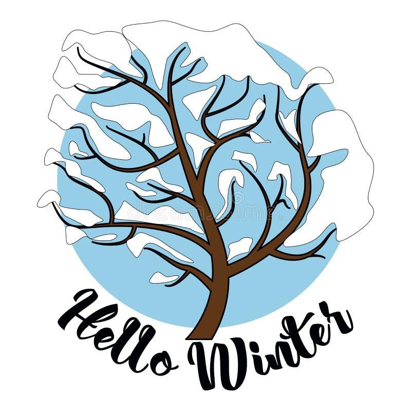 Olá! fundo do cartão da inscrição do inverno com árvore de abeto, rena, queda de neve realística e elementos decorativos Natal d ilustração royalty free