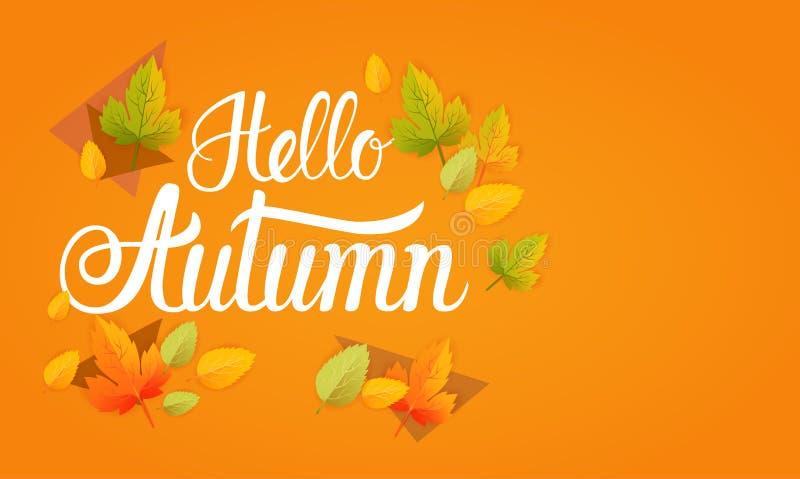 Olá! fundo do sumário de Autumn Yellow Leaf Fall Banner ilustração stock