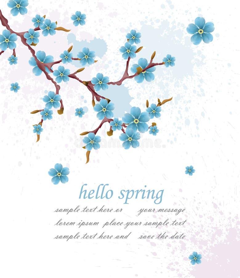 Olá! fundo do vintage da mola com flores azuis Ilustração do vetor Fundos elegantes do cartão de Minimalistic ilustração do vetor
