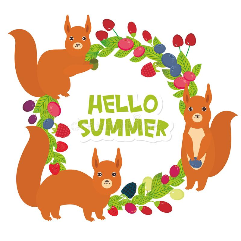 Olá! grinalda redonda do verão com a uva de Goji da airela do arando de Cherry Strawberry Raspberry Blackberry Blueberry dos esqu ilustração stock