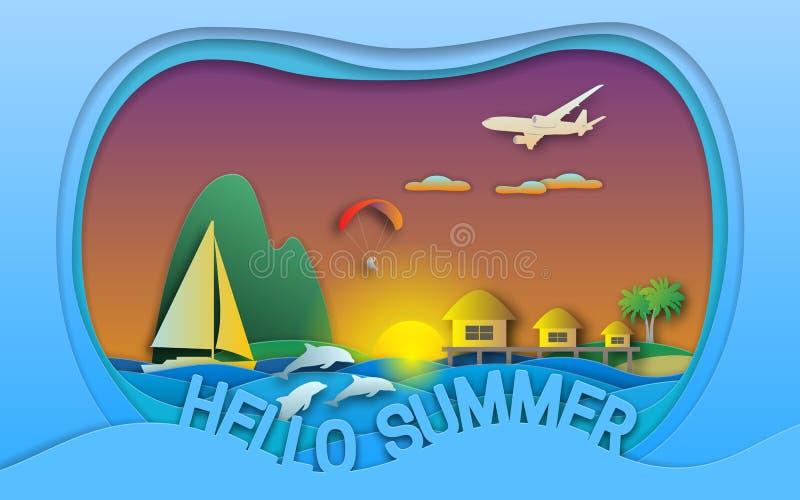 Olá! ilustração do vetor do verão Por do sol, recurso do mar com os bungalows, navegando o iate, o paraglider, as ilhas, os golfi ilustração do vetor