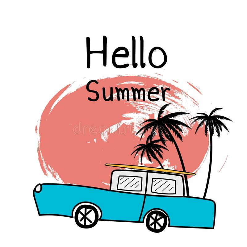 Olá! ilustração tipográfica das férias de verão com carro e as plantas tropicais ilustração stock