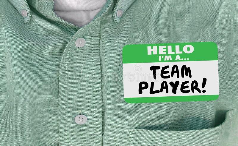 Olá! Im Team Player Name Tag Collaborate trabalham junto ilustração royalty free