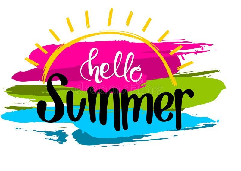 Olá! inscrição do verão com cursos coloridos ilustração royalty free