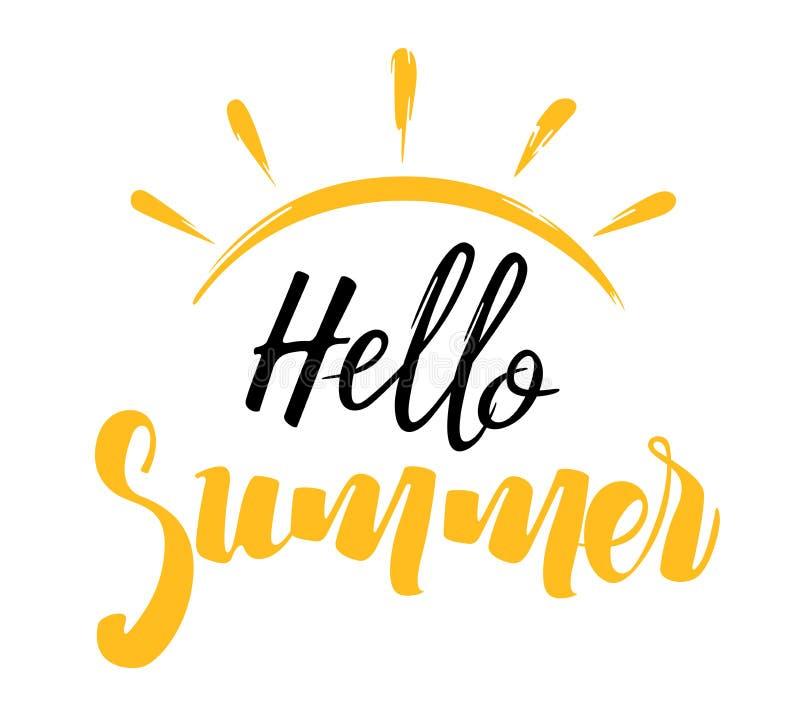 Olá! inscrição do verão com um Sun ilustração do vetor