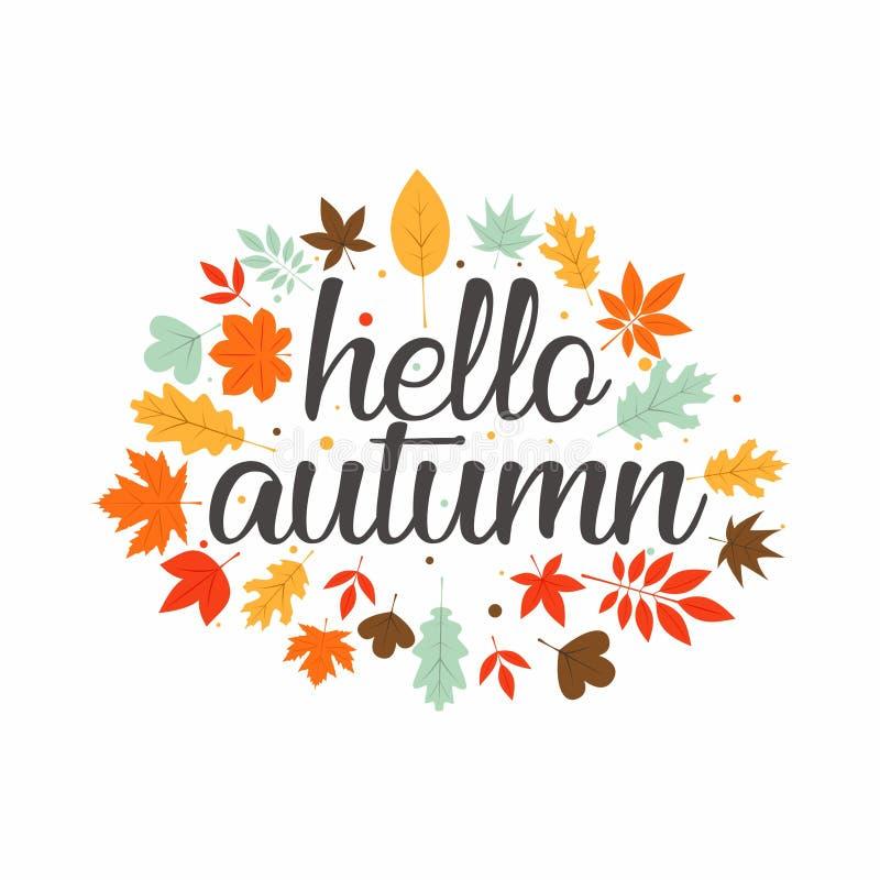 Olá! inspiração do projeto da tipografia do outono ilustração royalty free