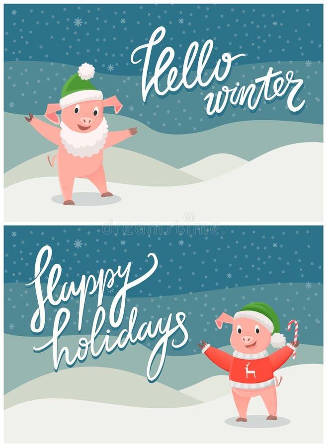 Olá! inverno e boas festas cartão com porco ilustração royalty free