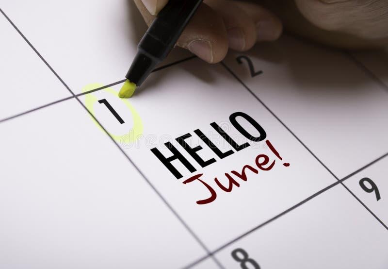 Olá! junho em uma imagem conceptual fotos de stock royalty free