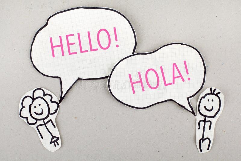 Olá! língua espanhola que fala Hola imagens de stock