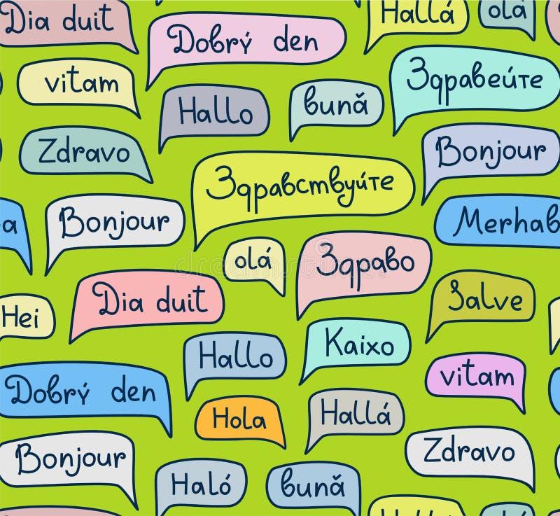Olá!, línguas europeias, teste padrão sem emenda, desenho do contorno, verde, cor, vetor ilustração stock