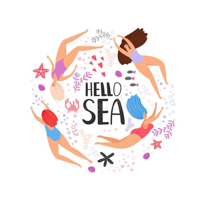 Olá! mulheres da natação dos desenhos animados do mar ilustração stock