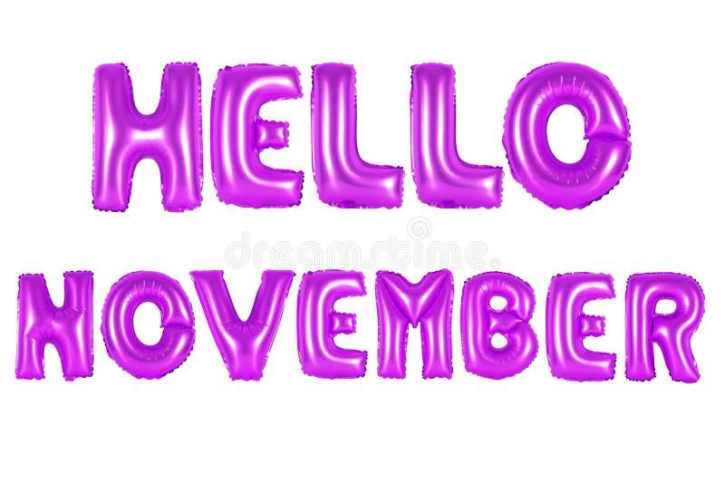 Olá! novembro, cor roxa fotos de stock royalty free