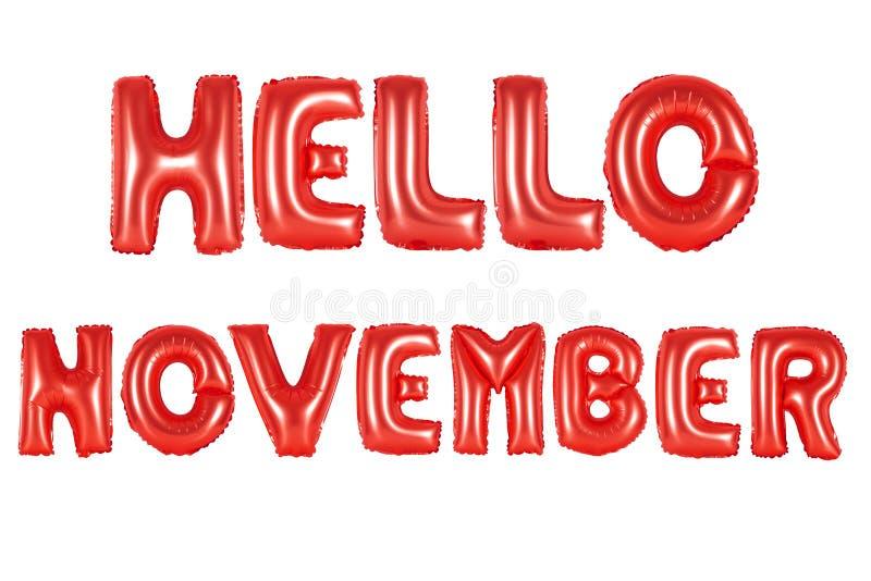 Olá! novembro, cor vermelha fotografia de stock